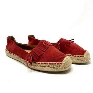 Marc Fisher LTD Cathy Fringe Espadrille Flat Red